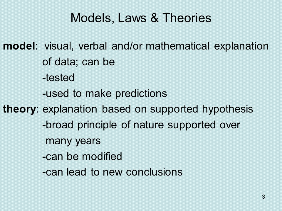 Models, Laws & Theories