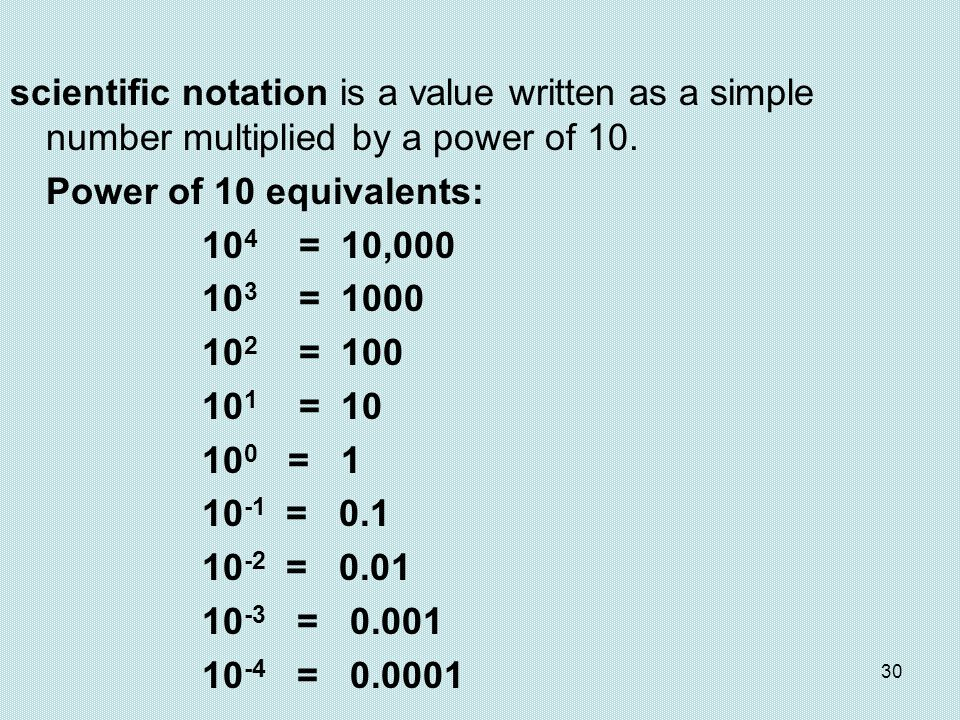 scientific notation is a value written as a simple number multiplied by a power of 10.