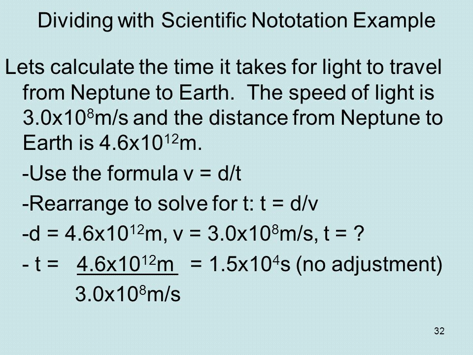 Dividing with Scientific Nototation Example