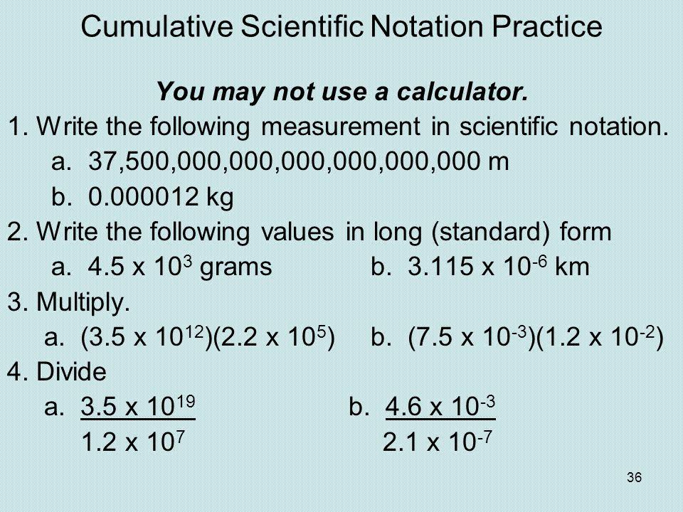 Cumulative Scientific Notation Practice
