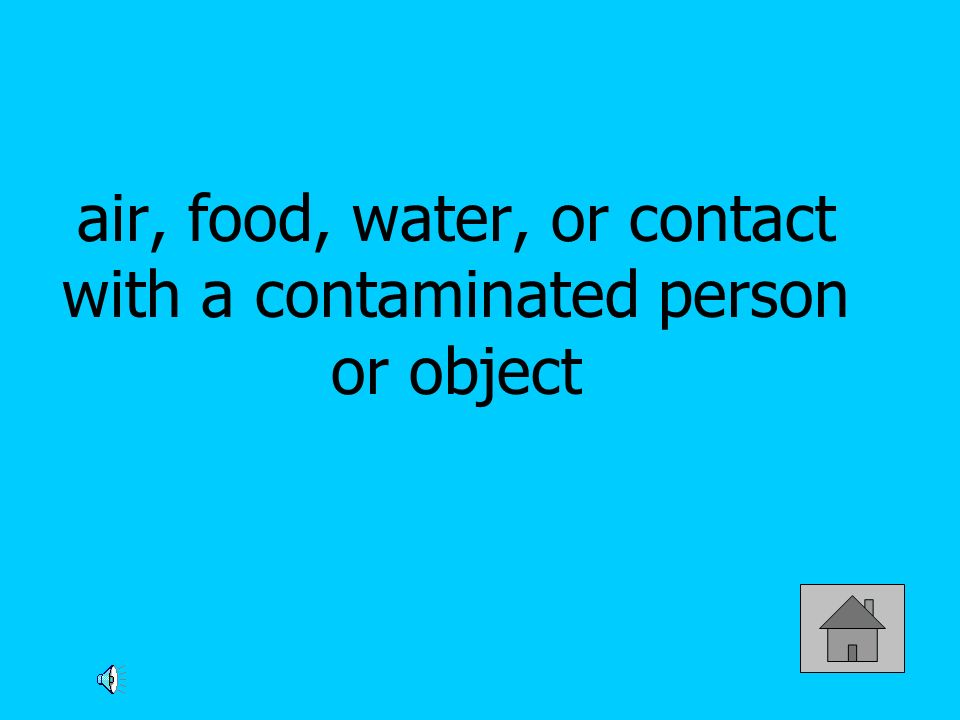 air, food, water, or contact with a contaminated person or object