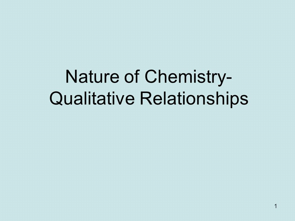 Nature of Chemistry- Qualitative Relationships