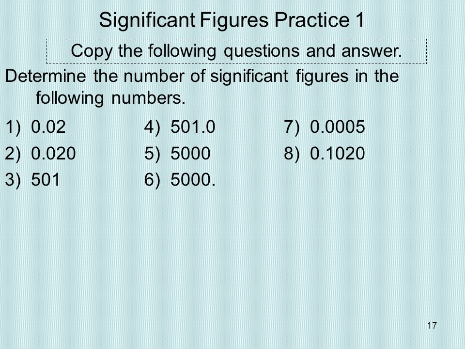 Significant Figures Practice 1
