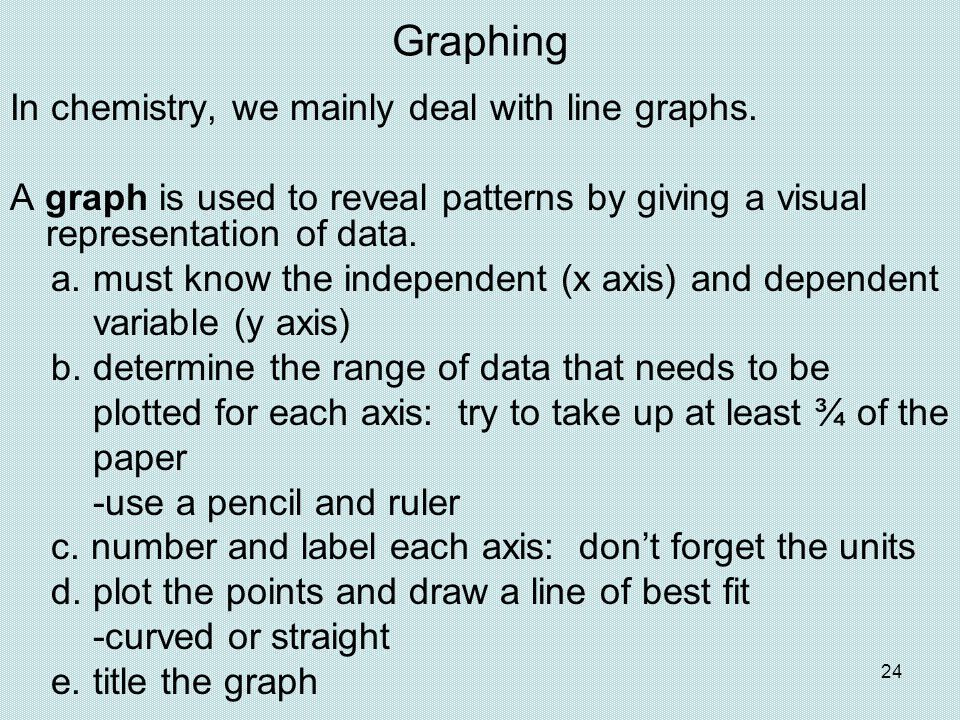Graphing In chemistry, we mainly deal with line graphs.