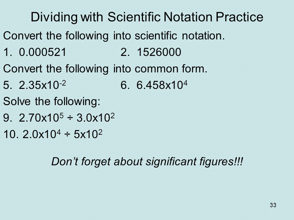 Dividing with Scientific Notation Practice