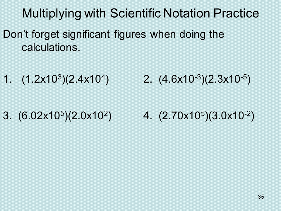 Multiplying with Scientific Notation Practice