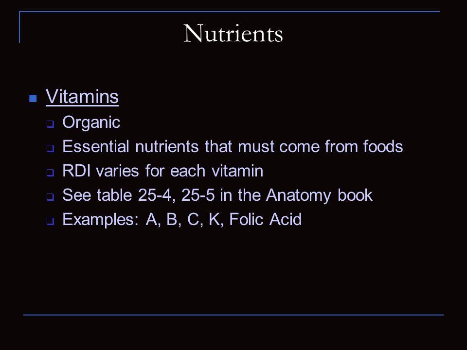 Nutrients Vitamins Organic