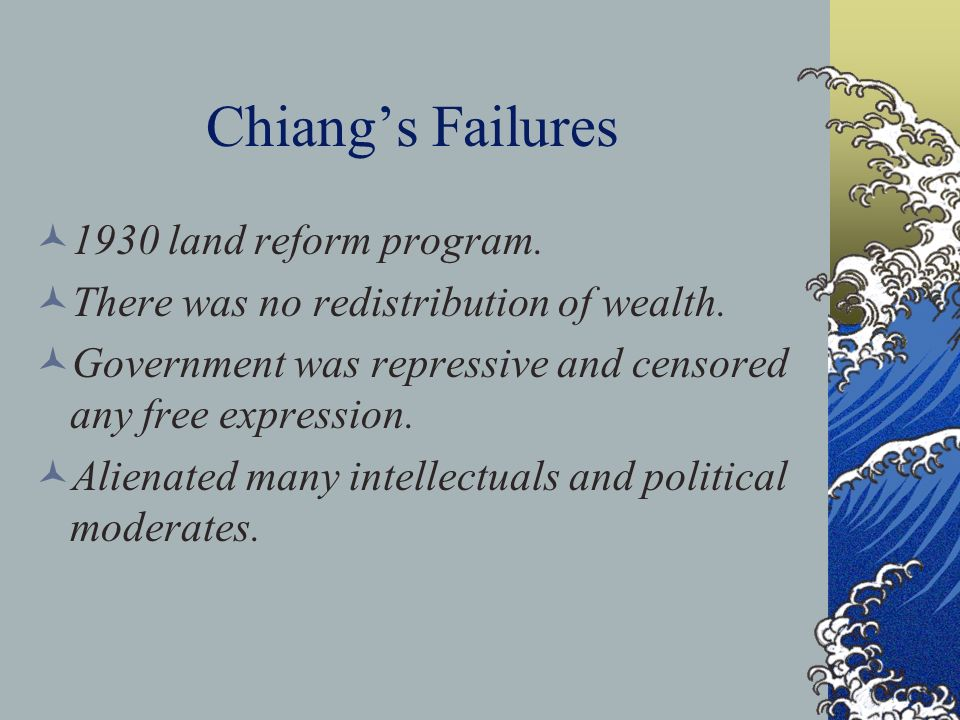 Chiang's Failures 1930 land reform program.