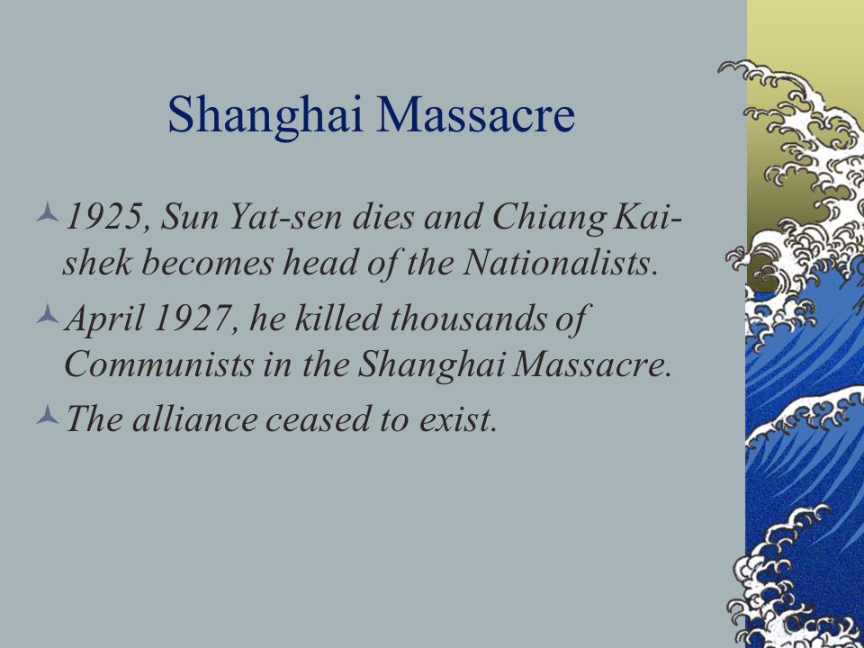 Shanghai Massacre 1925, Sun Yat-sen dies and Chiang Kai-shek becomes head of the Nationalists.