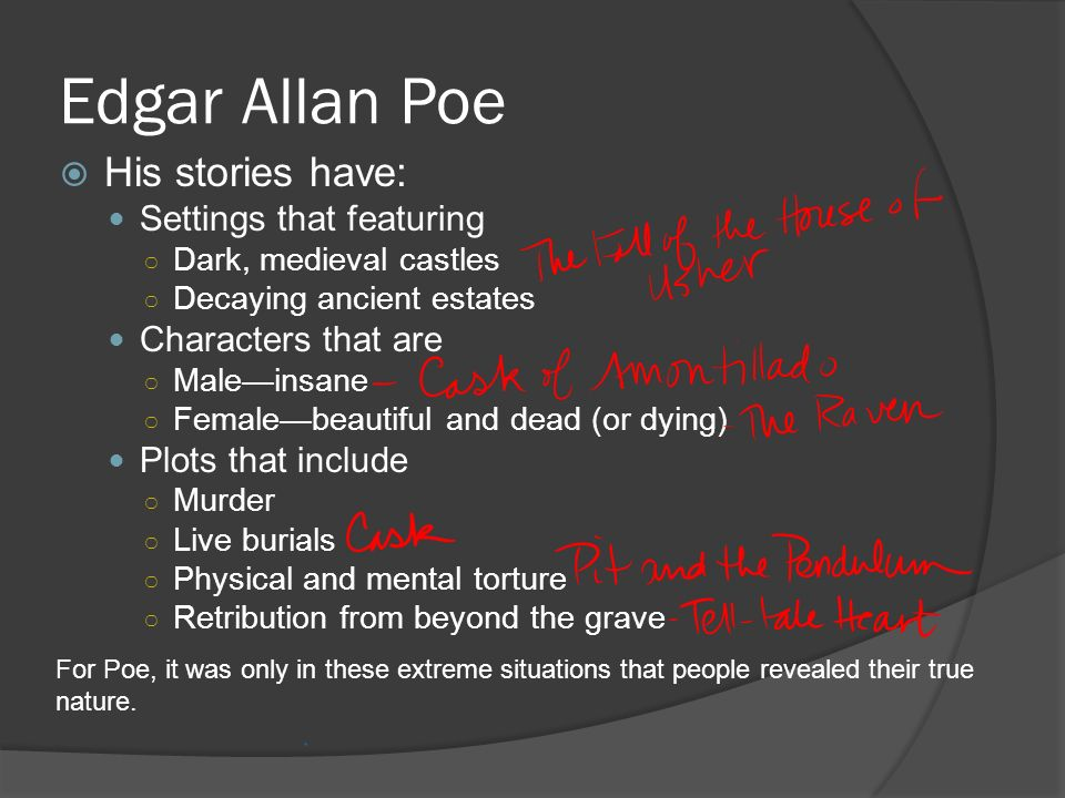 Edgar Allan Poe His stories have: Settings that featuring