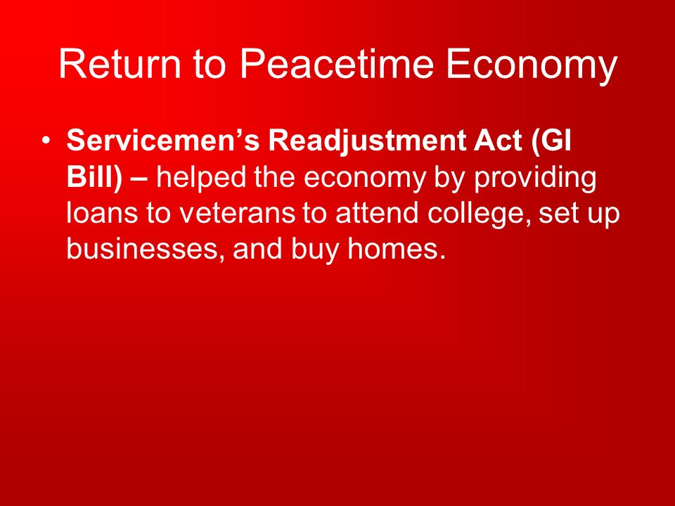 Return to Peacetime Economy