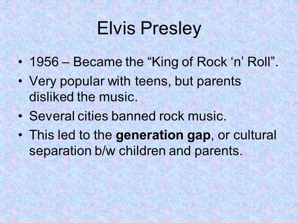 Elvis Presley 1956 – Became the King of Rock 'n' Roll .