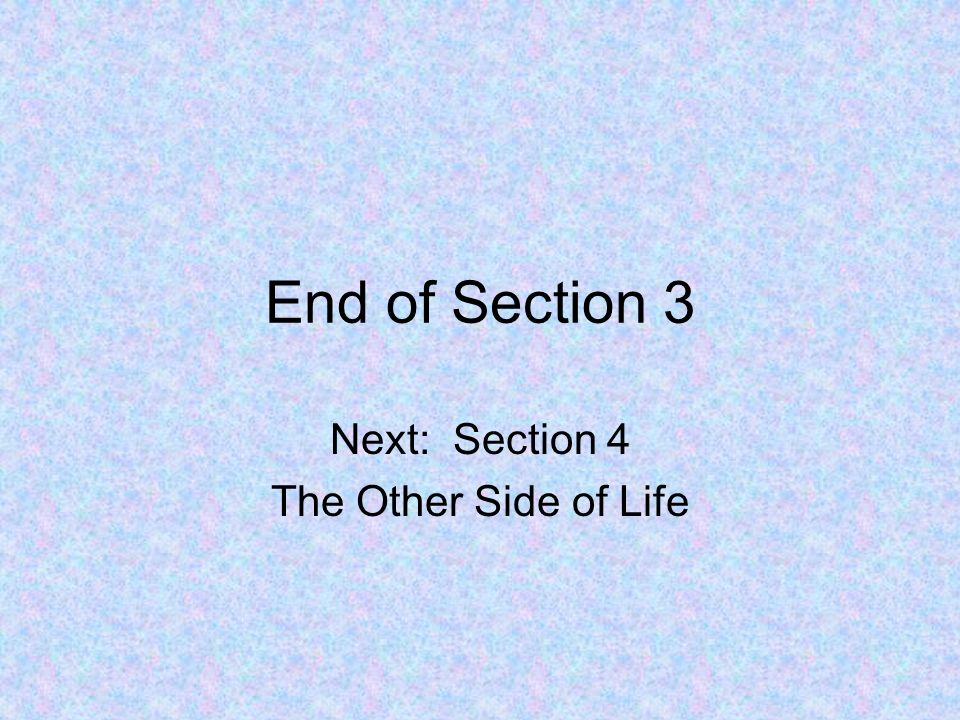 Next: Section 4 The Other Side of Life