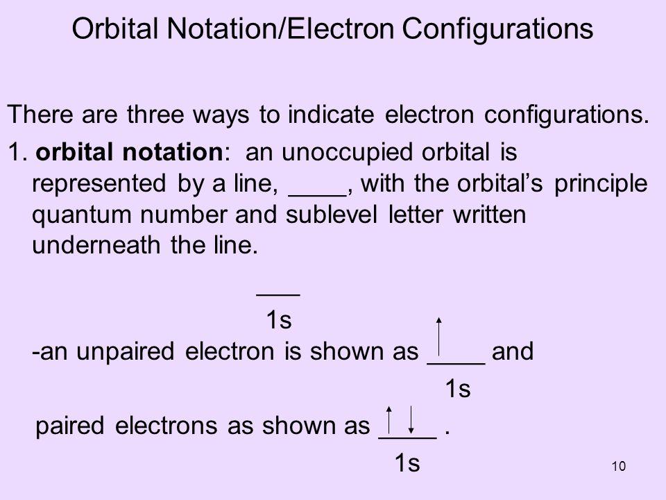 Orbital Notation/Electron Configurations