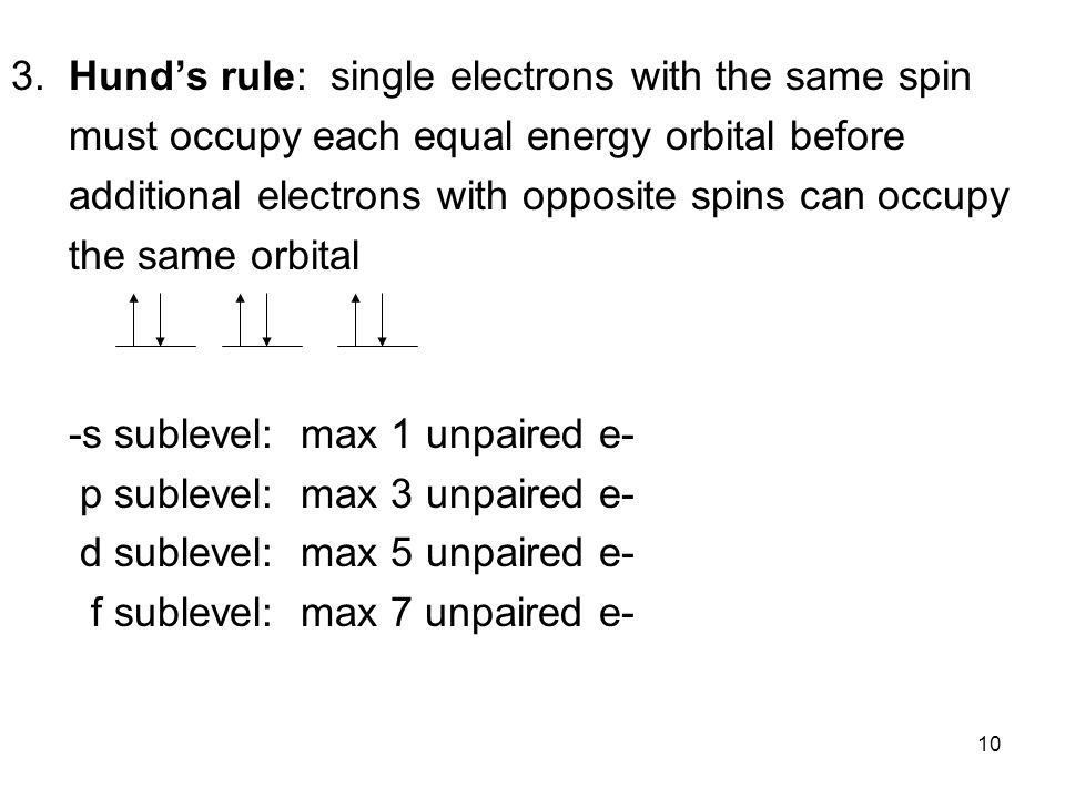 3. Hund's rule: single electrons with the same spin