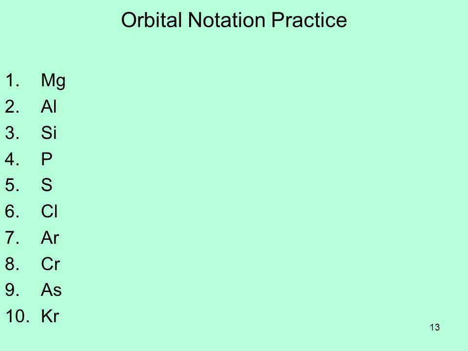 Orbital Notation Practice