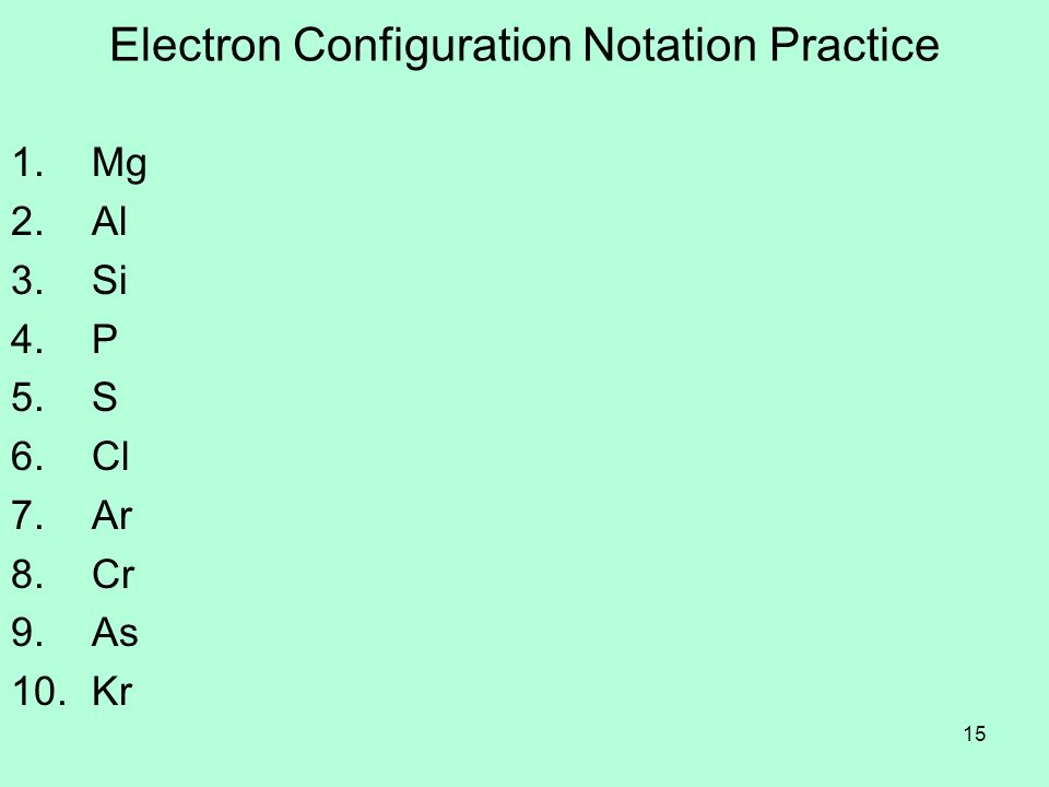 Electron Configuration Notation Practice