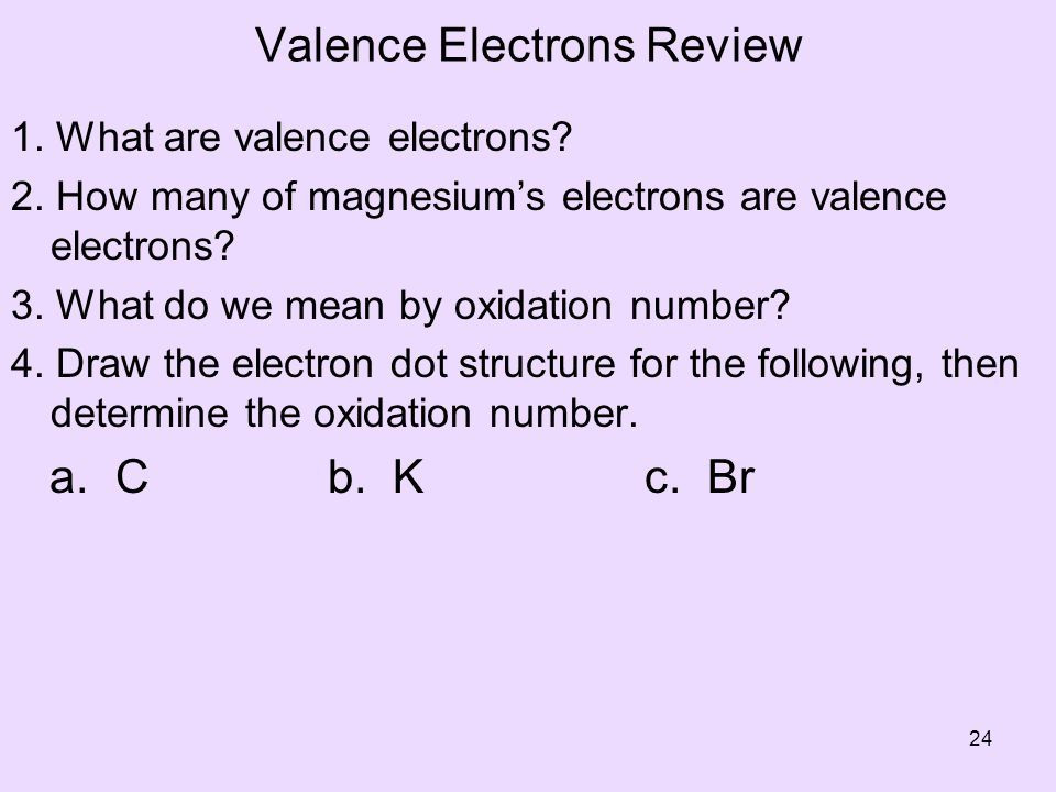 Valence Electrons Review
