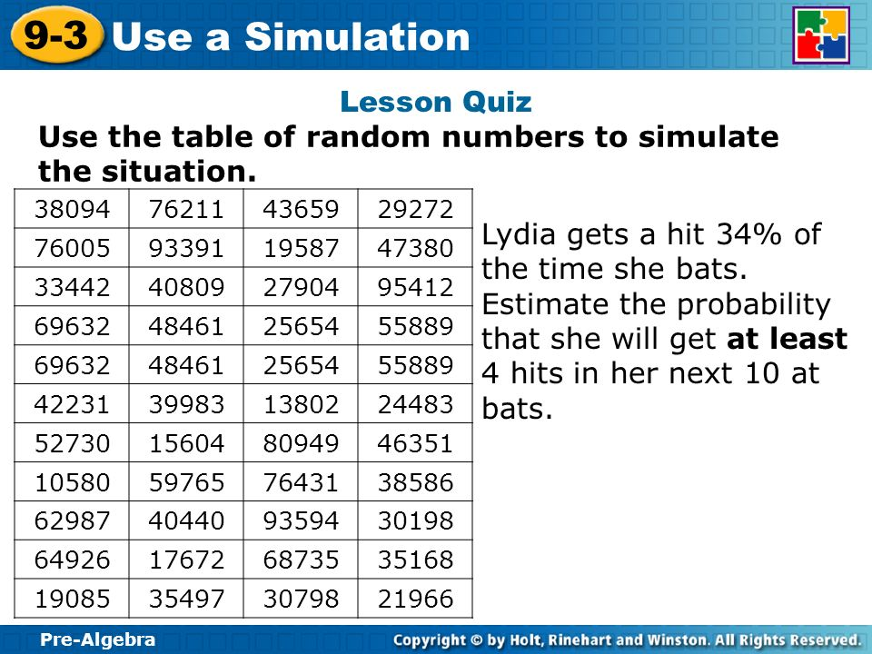 Use the table of random numbers to simulate the situation.