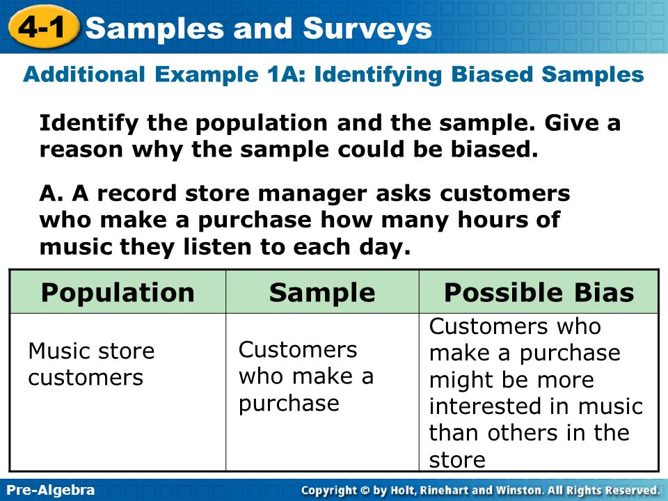 Additional Example 1A: Identifying Biased Samples