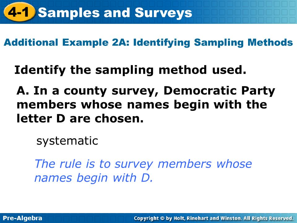 Additional Example 2A: Identifying Sampling Methods