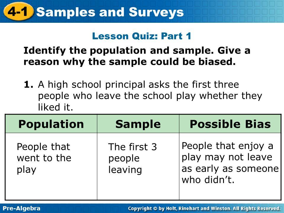 Population Sample Possible Bias