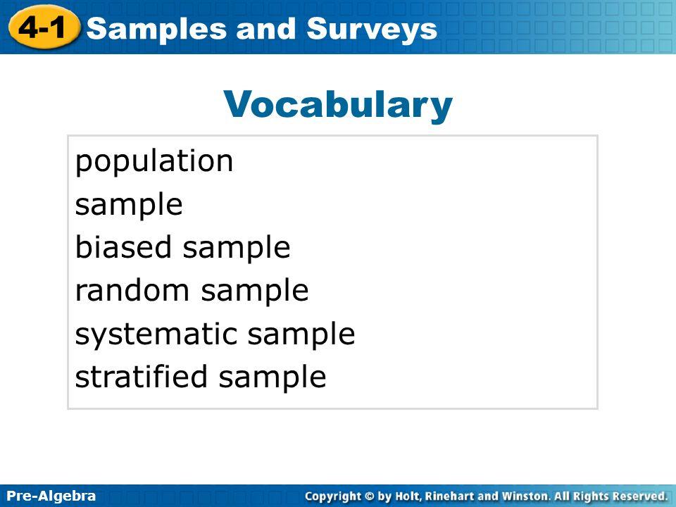 Vocabulary population sample biased sample random sample