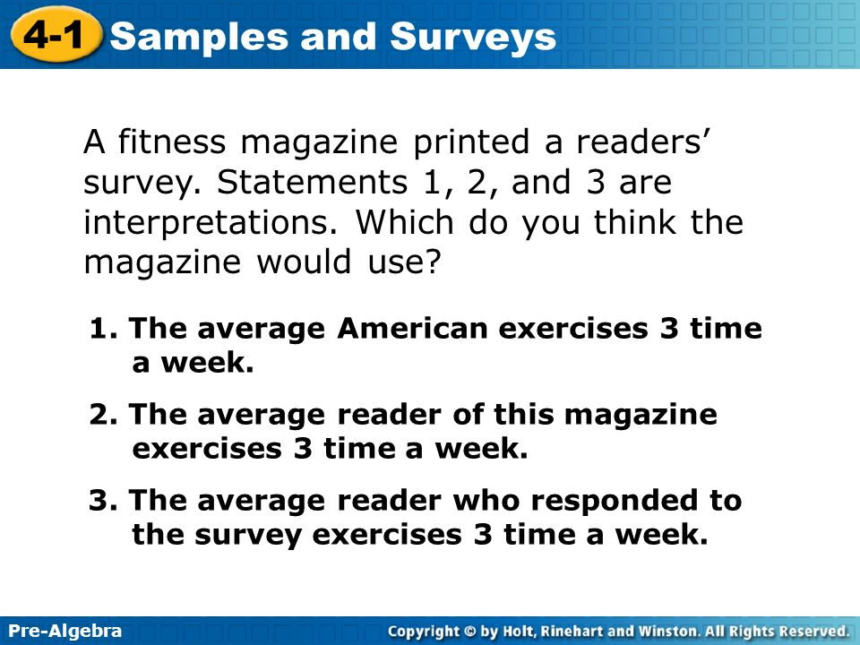 A fitness magazine printed a readers' survey