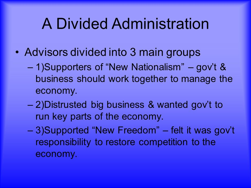 A Divided Administration