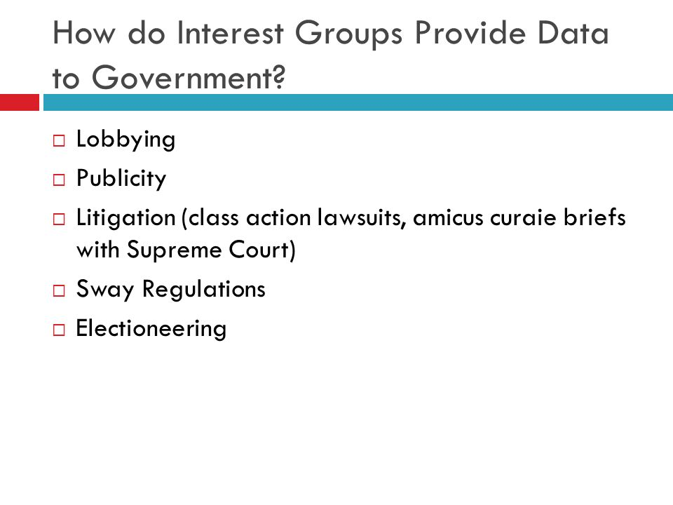 How do Interest Groups Provide Data to Government