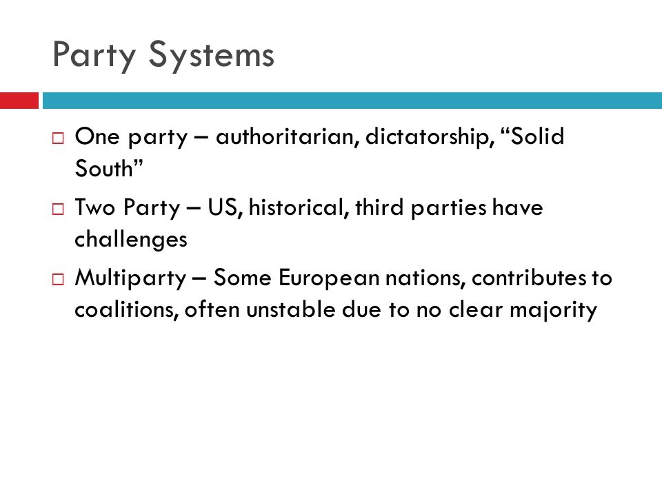 Party Systems One party – authoritarian, dictatorship, Solid South
