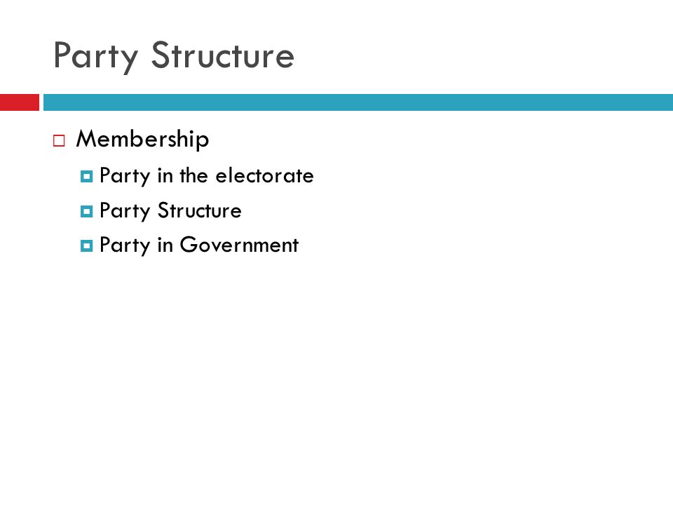 Party Structure Membership Party in the electorate Party Structure