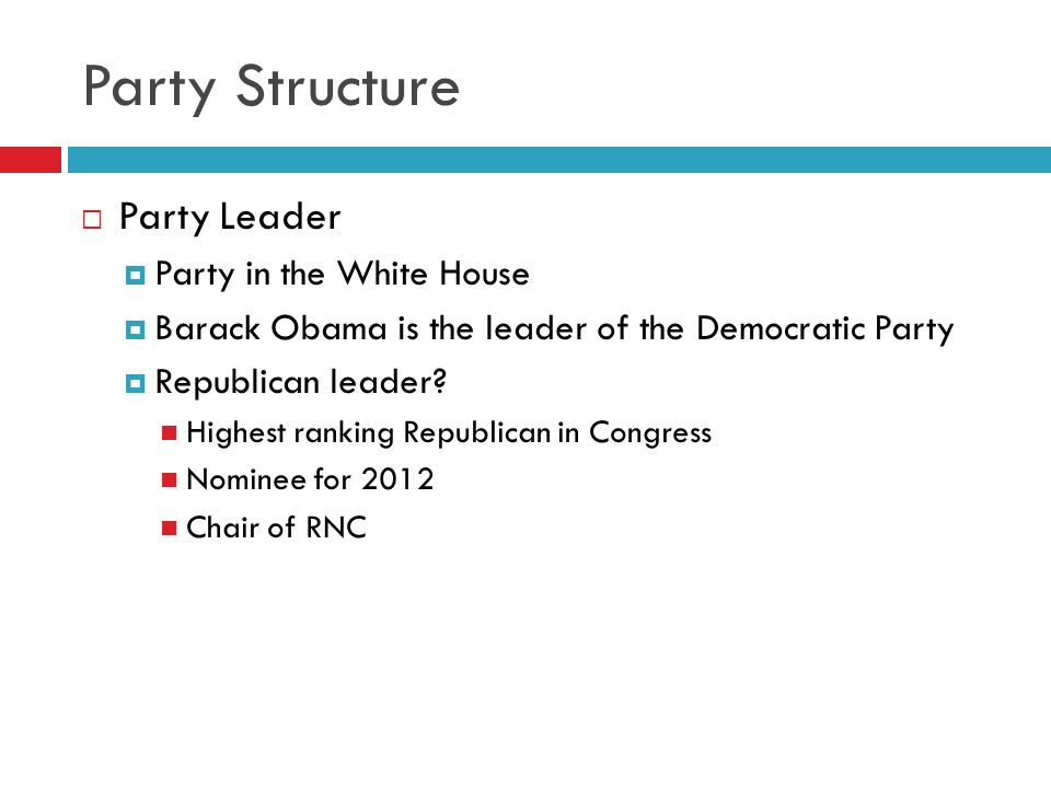 Party Structure Party Leader Party in the White House