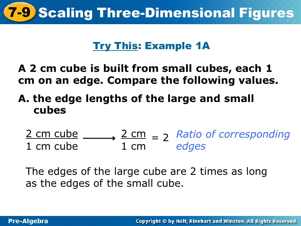 Try This: Example 1A A 2 cm cube is built from small cubes, each 1 cm on an edge. Compare the following values.
