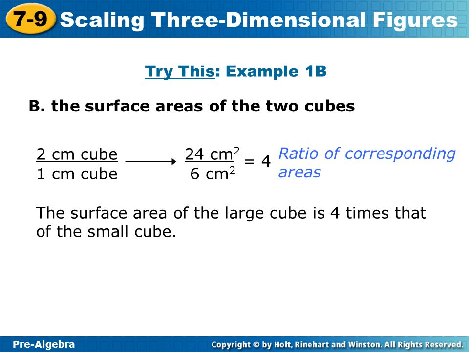 Try This: Example 1B B. the surface areas of the two cubes. 2 cm cube. 1 cm cube. 24 cm2. 6 cm2.