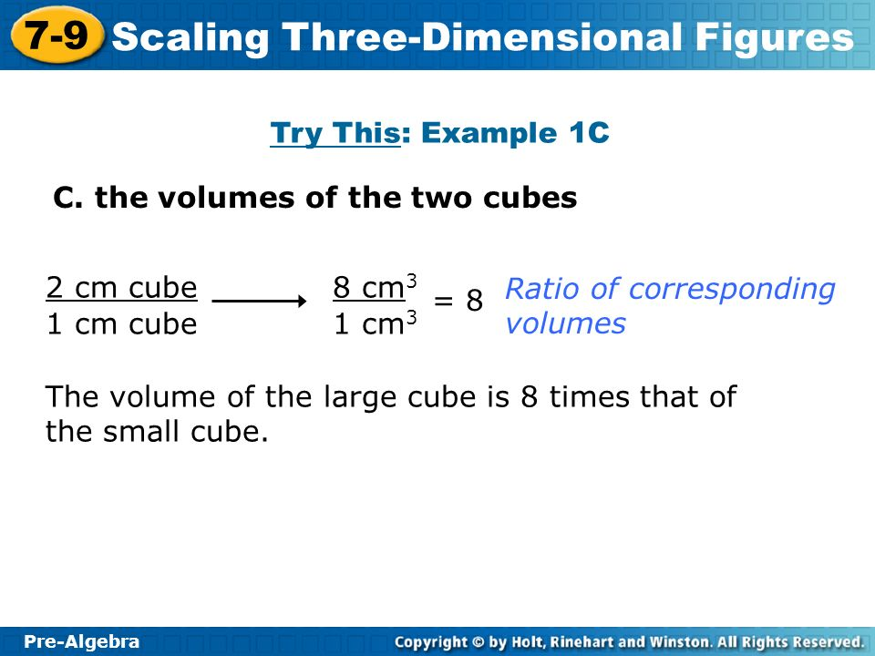 Try This: Example 1C C. the volumes of the two cubes. 2 cm cube. 1 cm cube. 8 cm3. 1 cm3. Ratio of corresponding volumes.