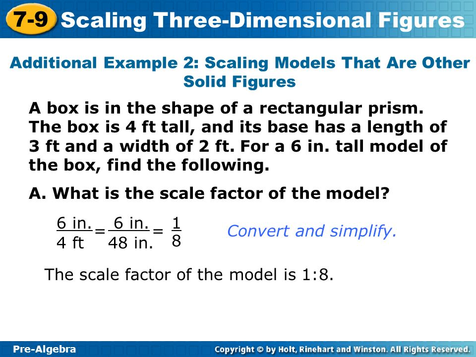 Additional Example 2: Scaling Models That Are Other Solid Figures