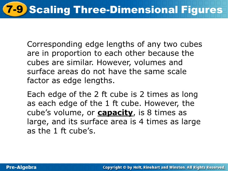 Corresponding edge lengths of any two cubes are in proportion to each other because the cubes are similar. However, volumes and surface areas do not have the same scale factor as edge lengths.