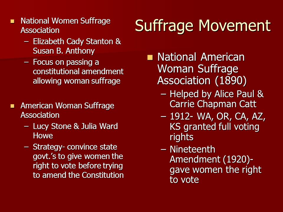 Suffrage Movement National American Woman Suffrage Association (1890)