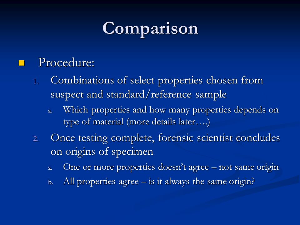 Comparison Procedure: