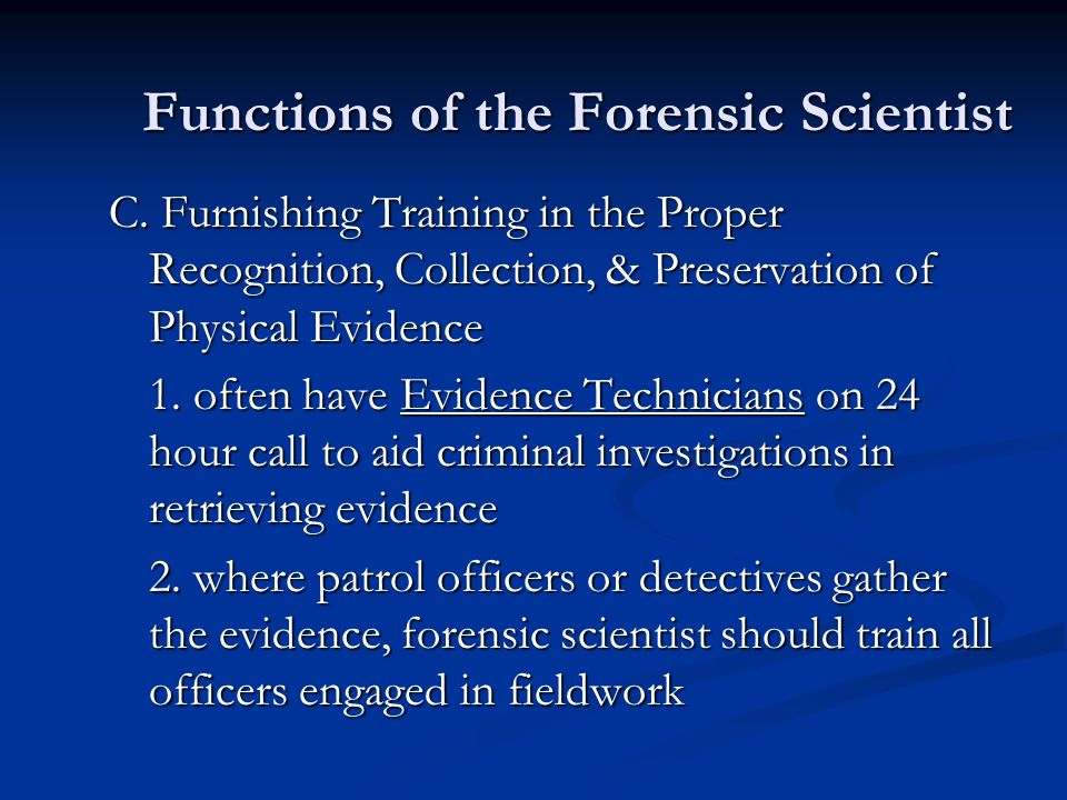 Functions of the Forensic Scientist