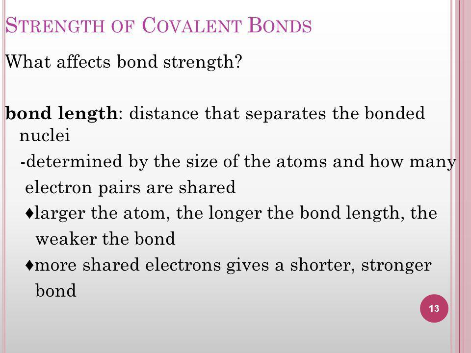 Strength of Covalent Bonds
