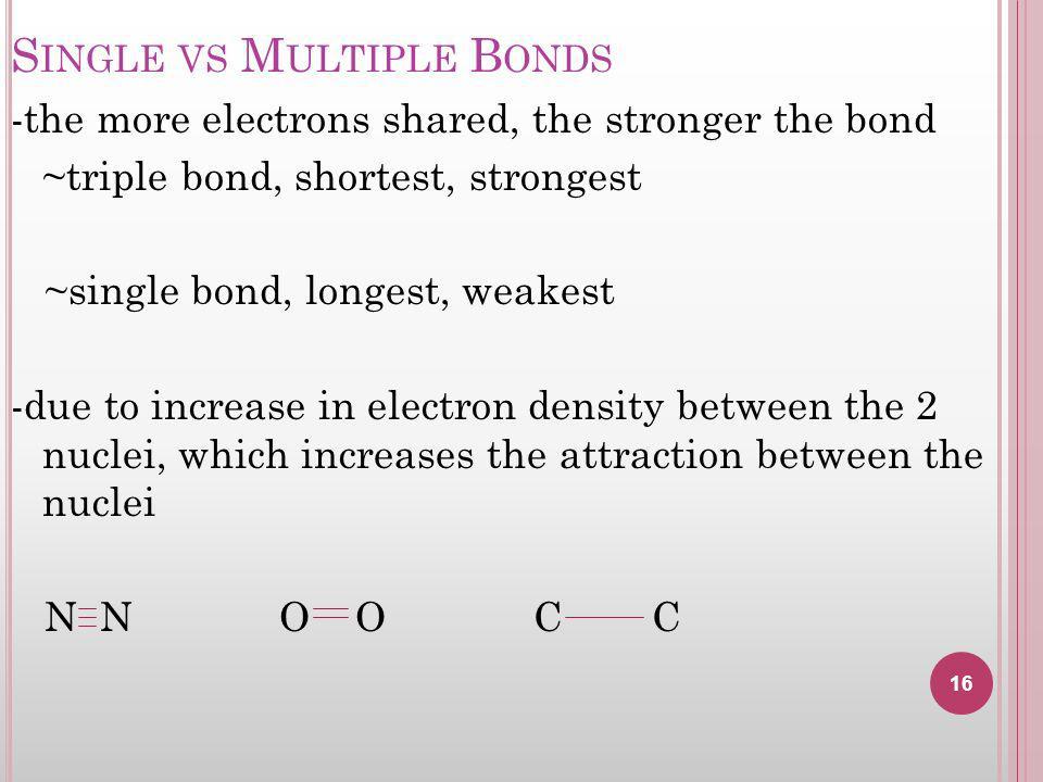 Single vs Multiple Bonds