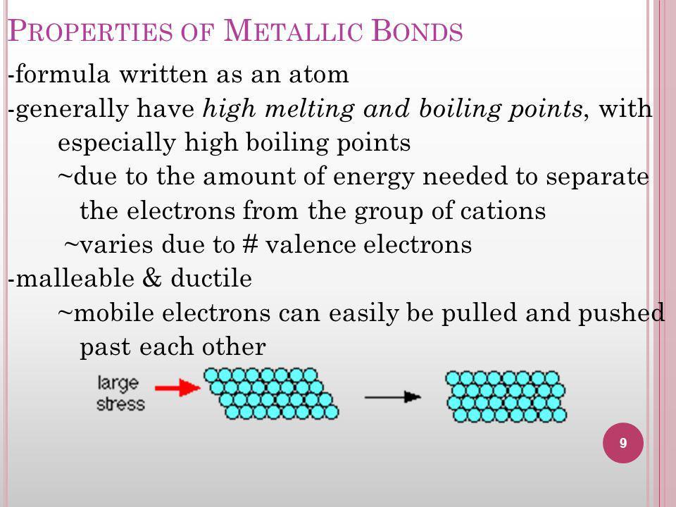 Properties of Metallic Bonds