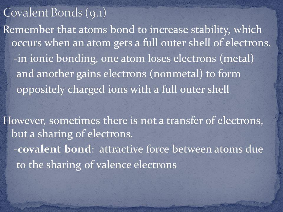 Covalent Bonds (9.1)