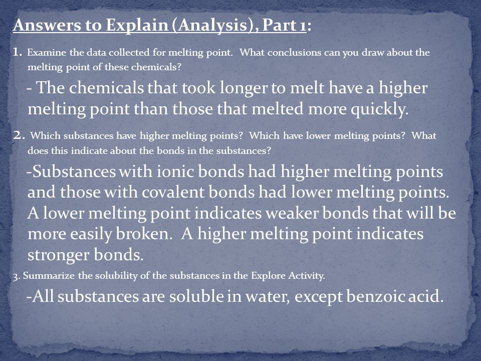 Answers to Explain (Analysis), Part 1: