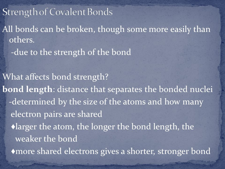 Strength of Covalent Bonds