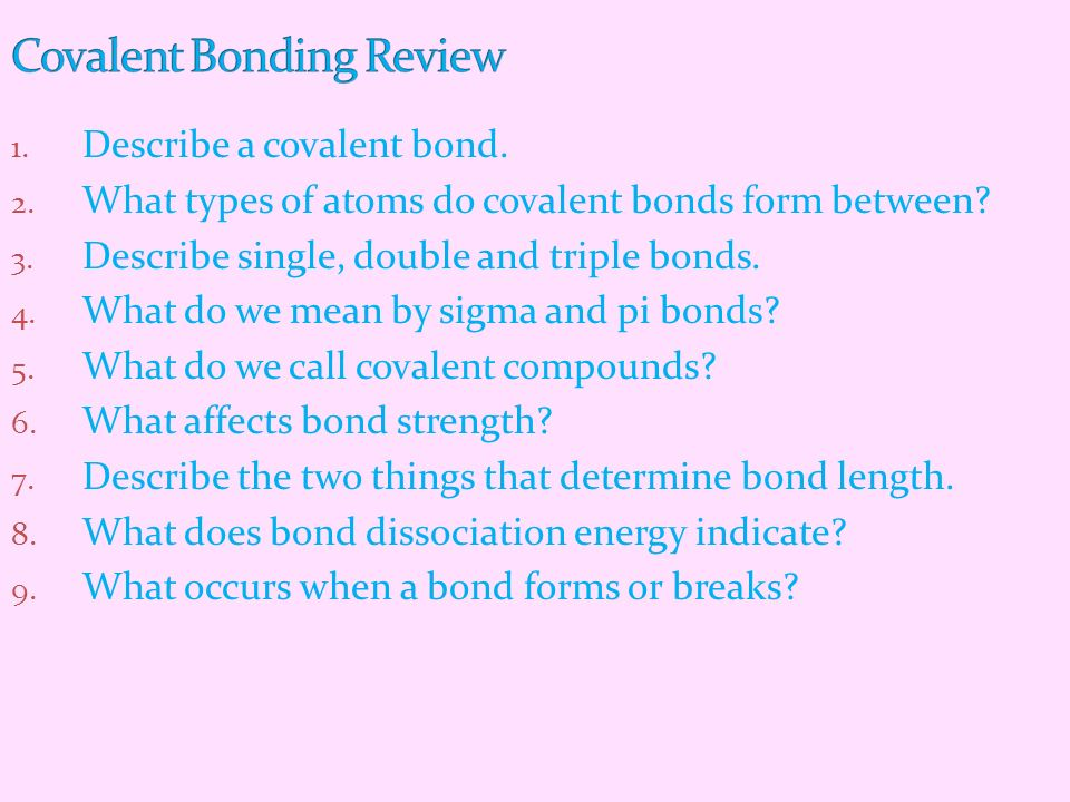 Covalent Bonding Review
