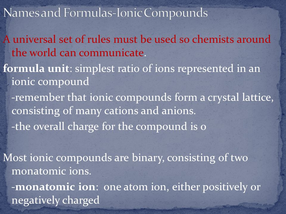 Names and Formulas-Ionic Compounds