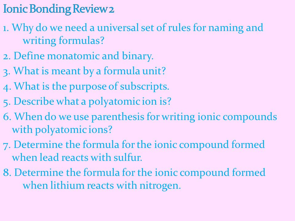 Ionic Bonding Review 2